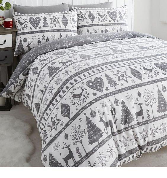 Noel, Christmas Themed Super King Size Bedding - Grey