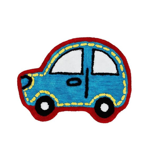 Car shaped rug. Blue with red edging.