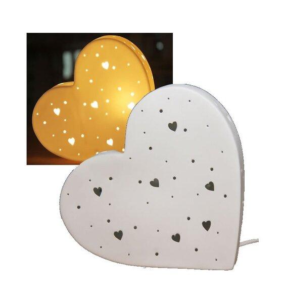 Love Heart Shaped 3d Ceramic Night Light