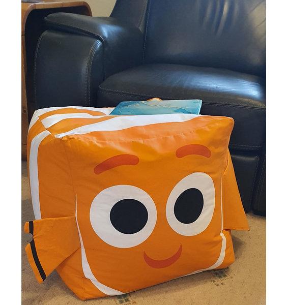 Orange, Fish inspired bean cube. Child sized with large googly eyes and orange fins.