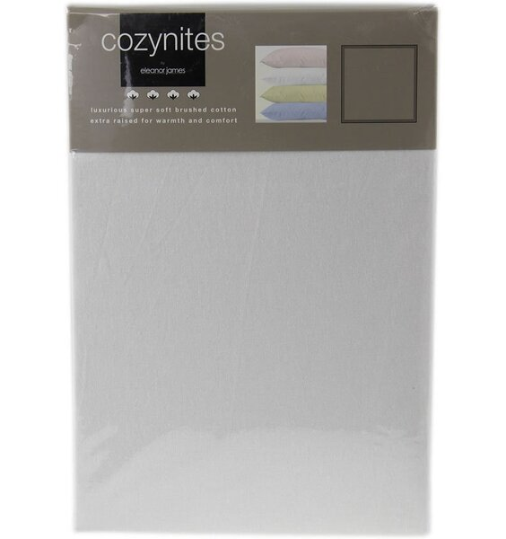 White, Flanelette Double Sheet Set, 1 Flat, 1Fitted, 2 Pillowcases - 100% Brushed Cotton