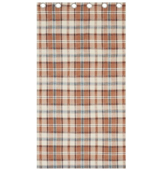 Brown, Tan and Cream Tartan Patterned Curtains