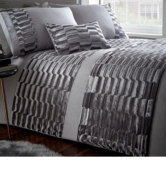 Sumptuous grey velvet bedding with bands of patterned crushed velvet and plain polycotton.