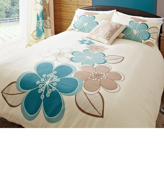 Candice, Teal Floral King Size Duvet Covers - Twin Pack