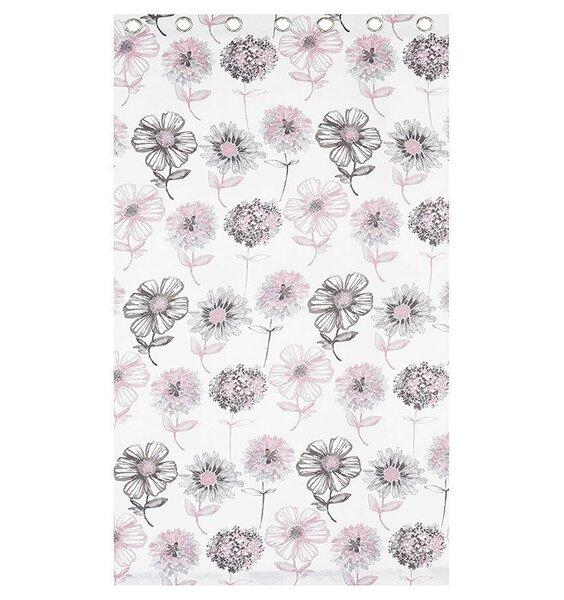 Banbury, Pink and Grey Floral Eyelet Curtains 72s