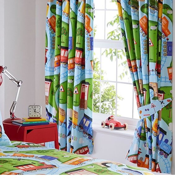 Toy Trains Lined Nursery Curtains 54s