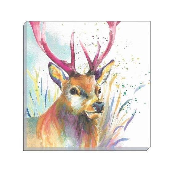 Watercolour Stag Canvas Art  40 x 40 cm