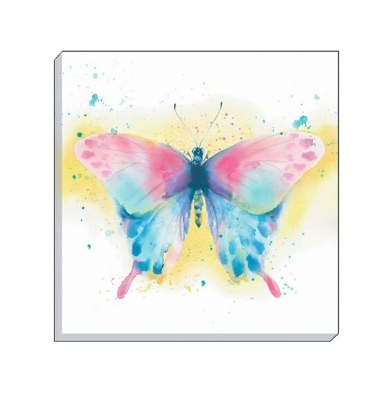Colourful, Water Colour Butterfly on a White Background Wall Canvas.