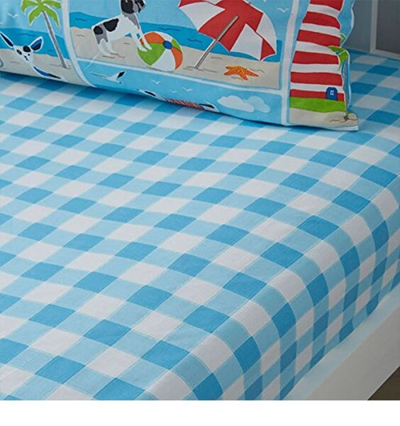 Blue Gingham,Patch Toddler Fitted Sheet
