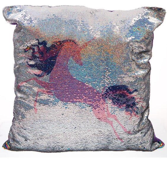 Pink Unicorn, Large Sequin Cushion