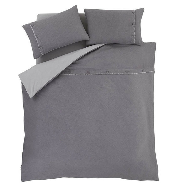 Grey, Brushed Cotton Single Duvet with Blanket Stitch Edging & Button Detail.