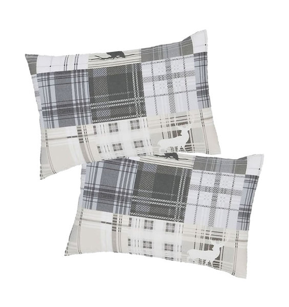Pair of Grey and White, Tartan Patterned, Brushed Cotton Pillowcases