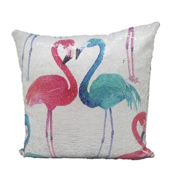 Flamingos, Large Sequin Cushion