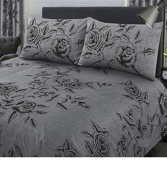 Black and grey with a rose flower, leaves and stem design.