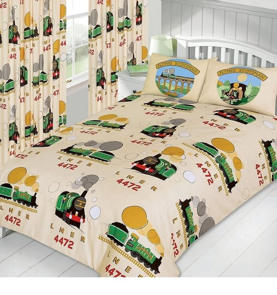 Flying Scotsman Train Themed Bedding Set on a cream background. LNER 4472  steam train various images.