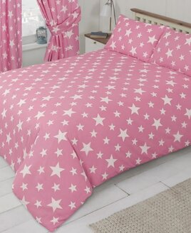Bubble Gum Pink Duvet Cover patterned with two size of white stars.