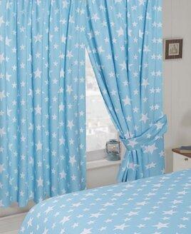 White Star, Pale Blue Curtains 72s