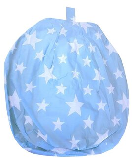 Sky Blue, child sized bean bag, patterned with white stars.