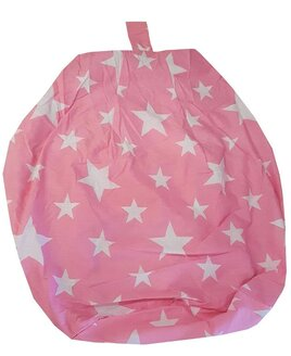 Pink, child sized bean bag, patterned with white stars.