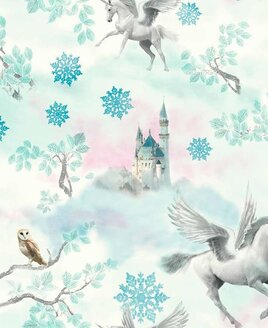 Arthouse Fairytale Unicorn Wallpaper - Blue