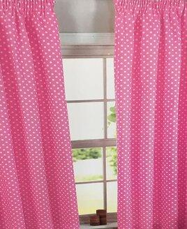 Pink Polka Dot, 100% Cotton Curtains 46 x 54
