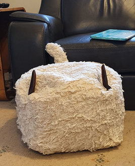 Faux Fur, Sheep Skin  Bean Cube, Footstool