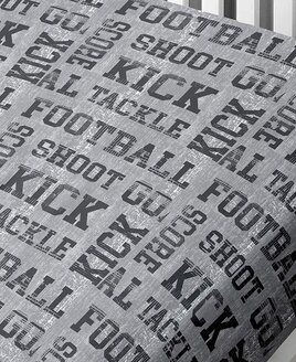 Football, Grey Single Fitted Sheet