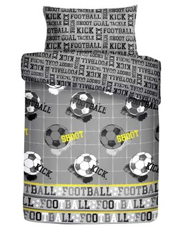 Grey, black, white and yellow football themed bed set. The reverse has black lettering on grey background.
