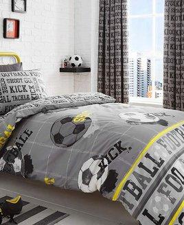 Grey, Football Themed Double Duvet