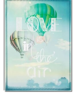 Large Blue Wall Canvas with Hot Hair Balloons and the Slogan - Love Is In The Air.
