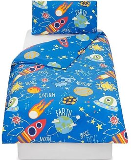 Junior Bedding Set. The Space Dog is floating in the galaxy surrounded by planets, rockets, and space ships with aliens.