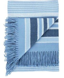 Woven Striped Blanket - Blue