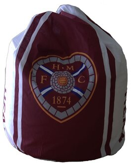 Small Heart of Midlothian Bean Bag or Footstool in Burgandy and White Featuring the Football Club Crest
