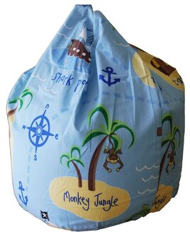 Child sized, sky blue, pirate themed beanbag. Patterned with galleons, small islands with monkeys, compass points and anchors.