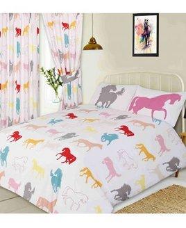 Horse White Double Bedding