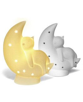 Childrens, 3D Ceramic Night Light - Cat on the moon