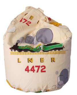 Small, Cream train inspired beanbag featuring the Flying Scotsman in green.