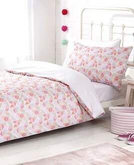 Girls 3 Piece Single Bedding Set With Fitted Sheet. Pink Grid, 100% Anti-Bacterial Cotton