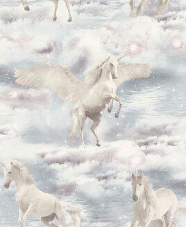 Unicorn Kingdom, Glitter Wallpaper - Grey