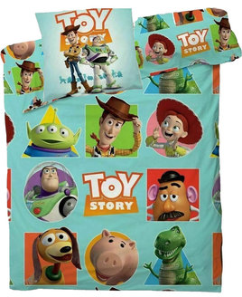 Turquoise blue background, with central Toy Story Logo, surrounded by images of popular Toy Story characters.