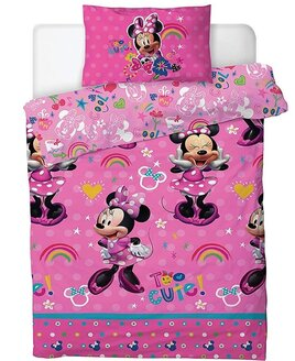Bright Pink Minnie Mouse Duvet patterned with Polka Dot Bows, Rainbows, Stars and Hearts.