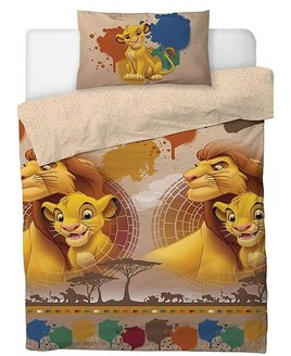 Lion King Duvet Cover with Simba and Mufasa on a neutral and shadow effect background.