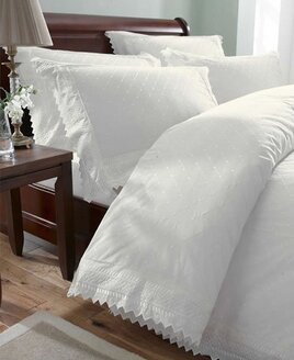 Quality, white, Broderia Anglaise King Size Duvet. Embroidered pattern throughout with ruffle trim