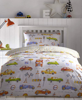 Boys cars and transport bedding with different cars and transport signs