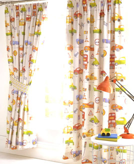 Boys curtains with cars, buses, race cars and road signs