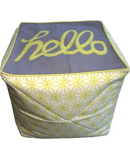 Yellow and Grey Hello Bean Cube or Footstool