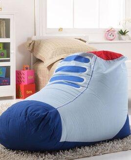 Children's blue and white sneaker shaped bean bag