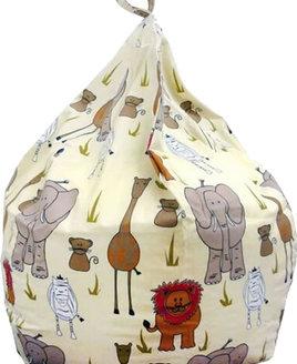 Jungle Animals Bean Bag - Natural