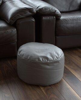 Grey Faux Leather Pouffe Footstool