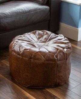 Brown Petal Pouffe Footstool